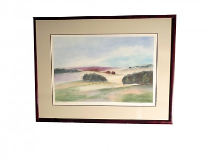 Framed and Signed Pastel Northern Meadows 2- view 1