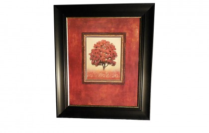 J Wiens Red Tree Art Print in Thick Black Frame