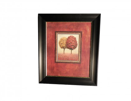 J Wiens Red and Yellow Tree Artwork in Black Frame- view 1