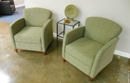 Krug Green Pattern Fabric- Lounge lobby chair