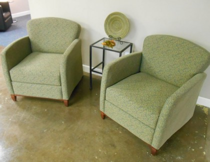 Krug Green and Beige Lounge Chairs- view 2