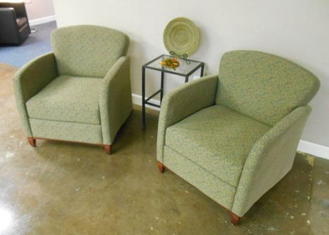 Krug Green and Beige Lounge Chairs